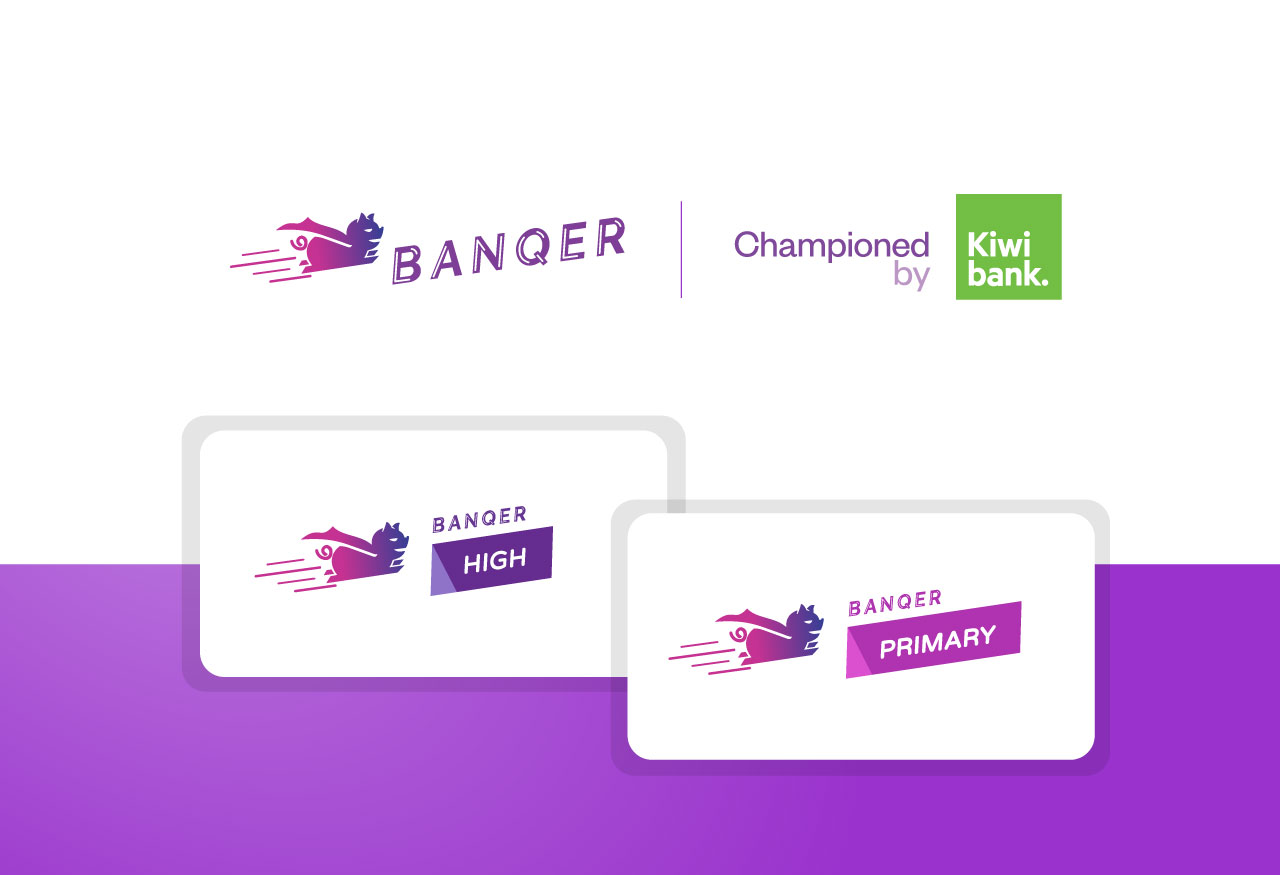 Banqer logos, from the main parent brand and two sub-brands Banqer Primary and High
