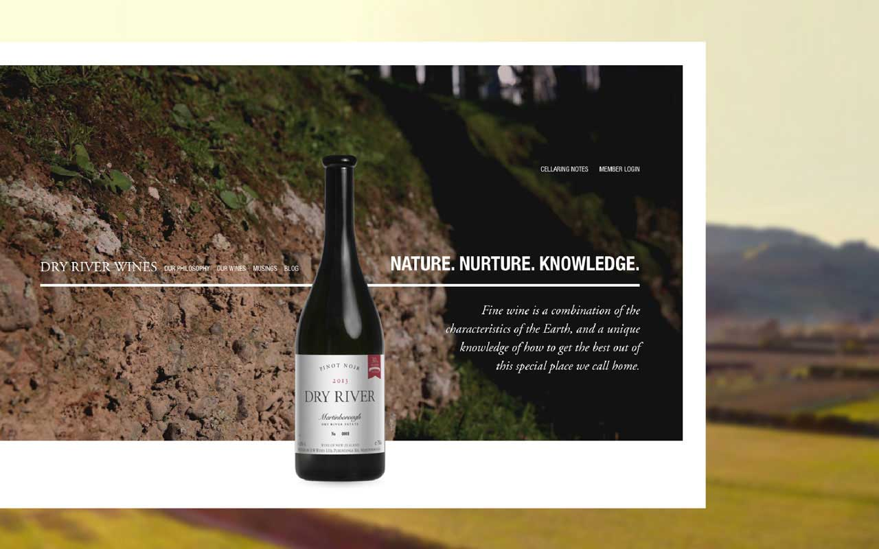 Dry River wines website screenshot featuring a centred bottle